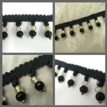 Laura Ashley black Glass beaded fabric fringe trim trimming - SOLD PER Mt   Xmas
